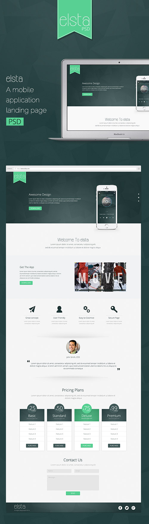 psd web template elsta mobile application landing page heroturko download. Black Bedroom Furniture Sets. Home Design Ideas
