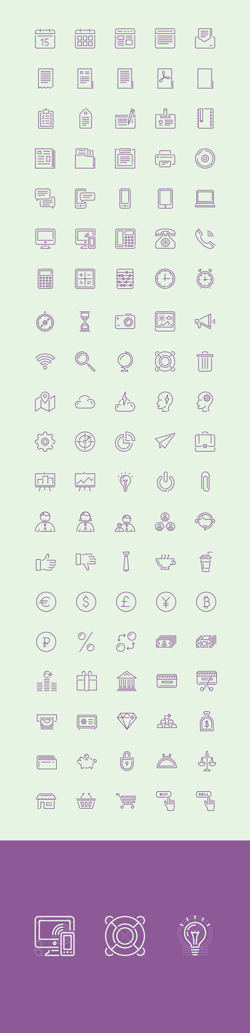 AI, EPS, PDF Vector Web Icons - Puppets - 100 Stroke Icons 2015