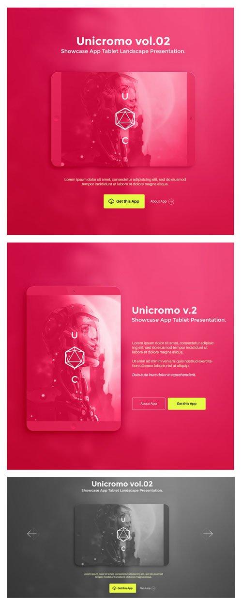 PSD App Tablet Showcase Presentation - Unicromo Vol.2
