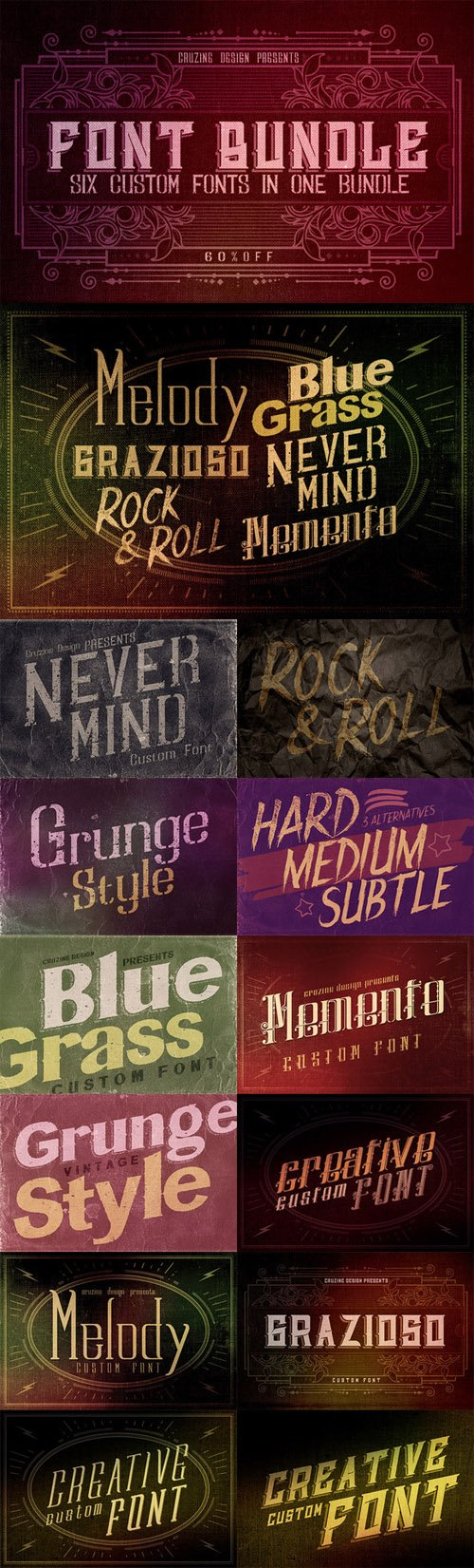 Creativemarket - 6 Custom Fonts in 1 Bundle 81809