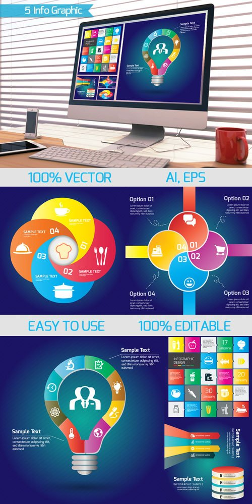 5 Vector Infographics Templates