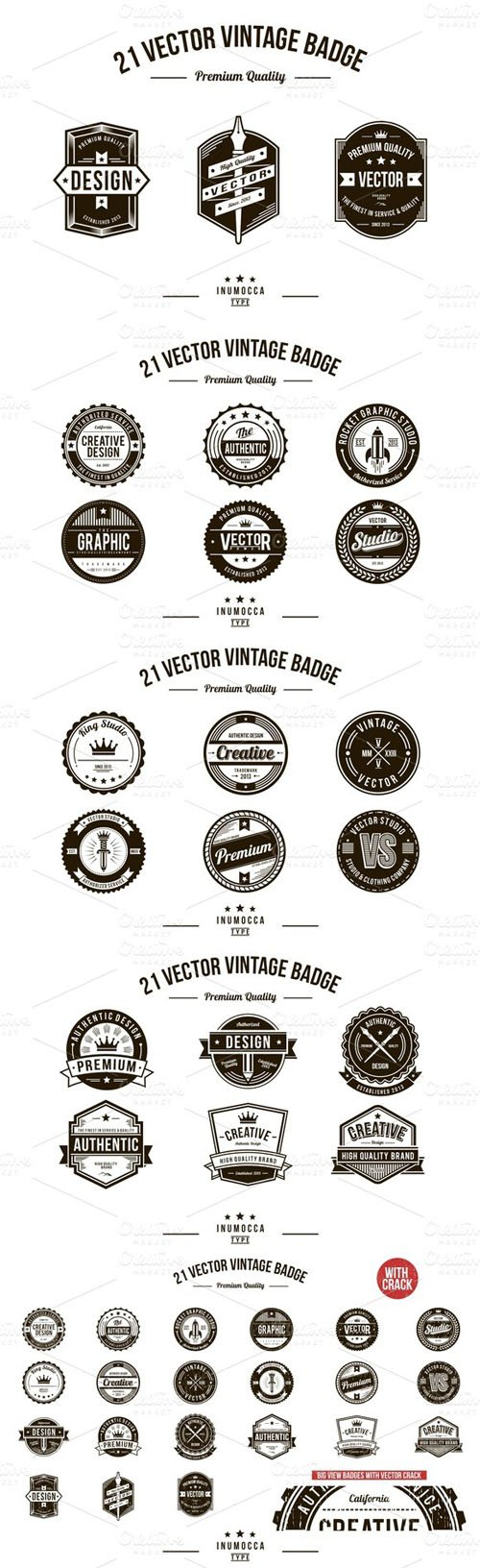 21 Vintage Badges (CLEAR & CRACK) - Creativemarket 13142