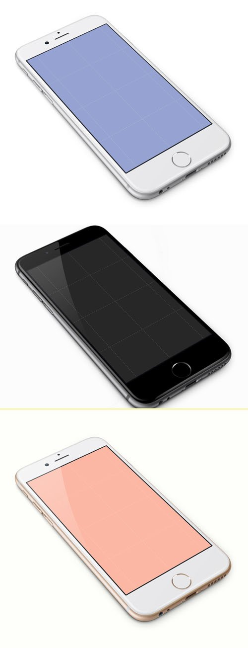Black, White and Gold iPhone 6 PSD Templates