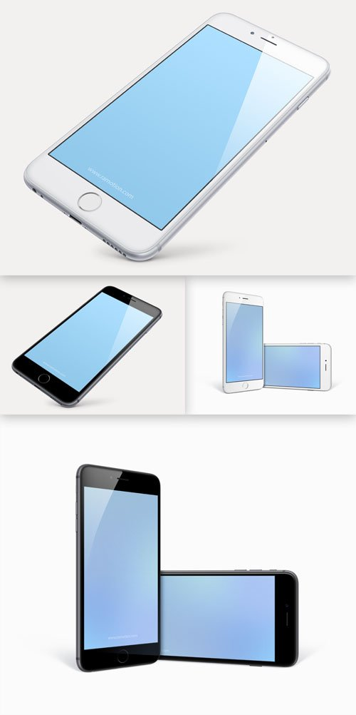 Perspective and Combined iPhone 6 Plus PSD Templates