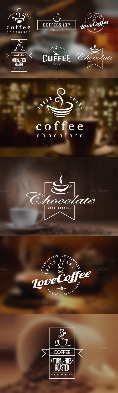 Coffee Retro Badges, Labels & Logos - Creativemarket 47488