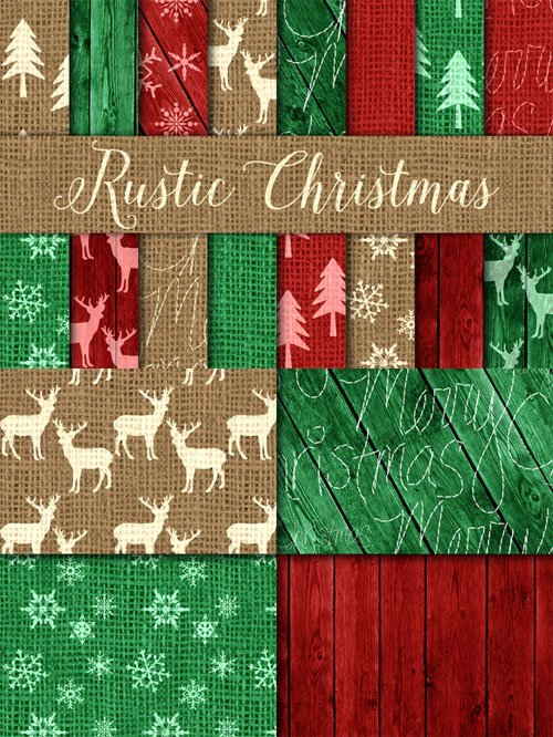 Rustic Christmas Digital Paper - Creativemarket 116617