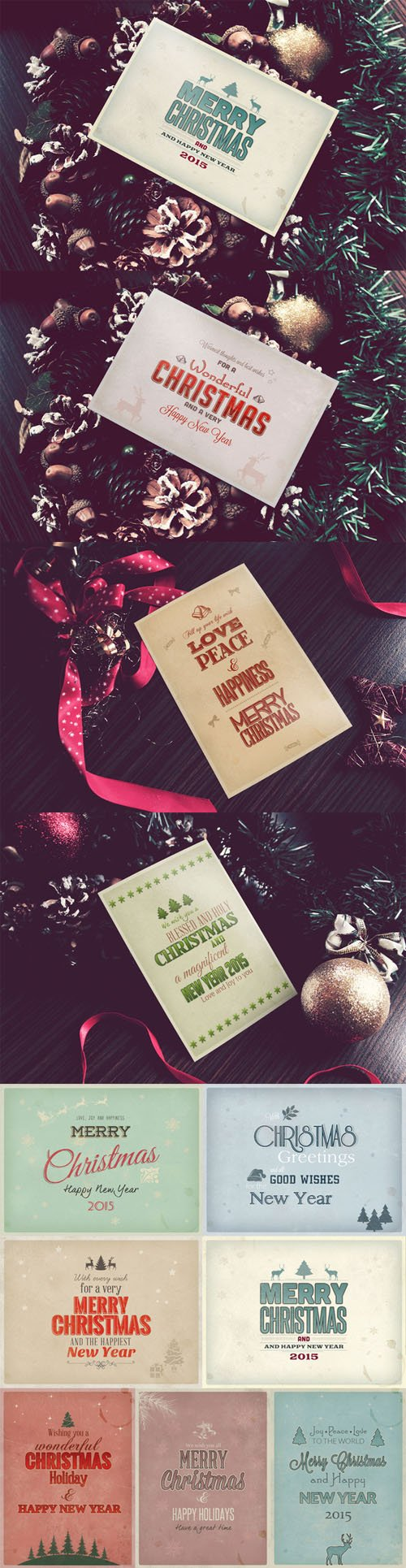 10 Retro Christmas Cards PSD - Creativemarket 125199