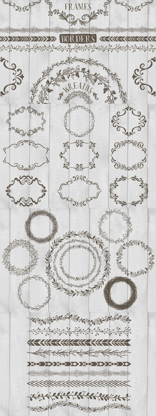 Frames, Wreaths and Borders - Creativemarket 75873