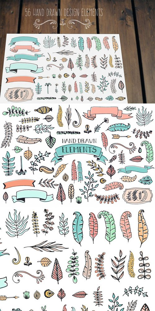 56 Doodle Decoration Elements - Creativemarket 64789