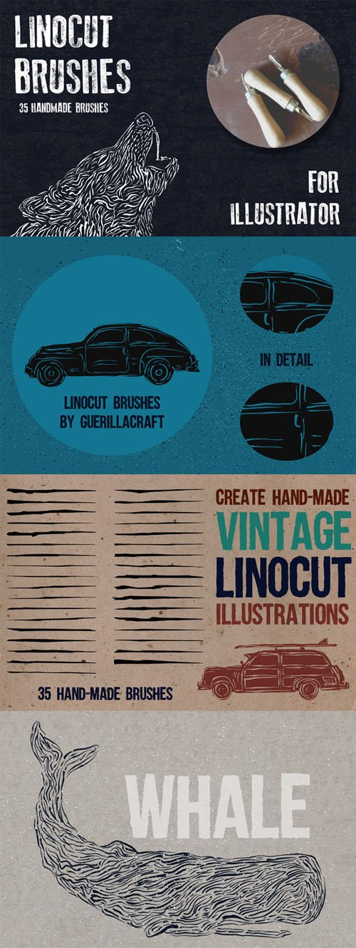 Hand-made linocut brushes - Creativemarket 57943