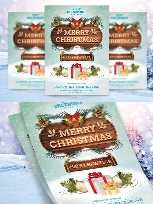 Merry Christmas Flyer Template - Creativemarket 119859