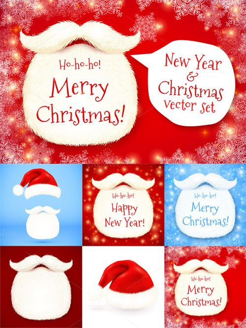 Santa's beard vector Christmas set - Creativemarket 126122