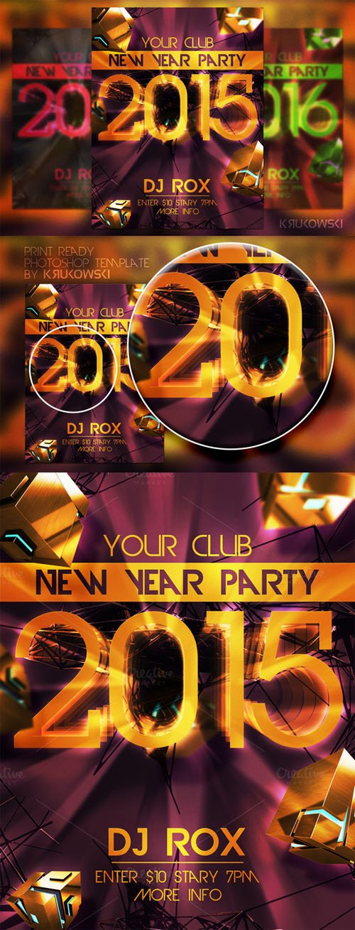 New Year Party Flyer - Creativemarket 111057