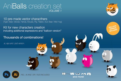 AniBalls, Character Creation Set - Creativemarket 133132