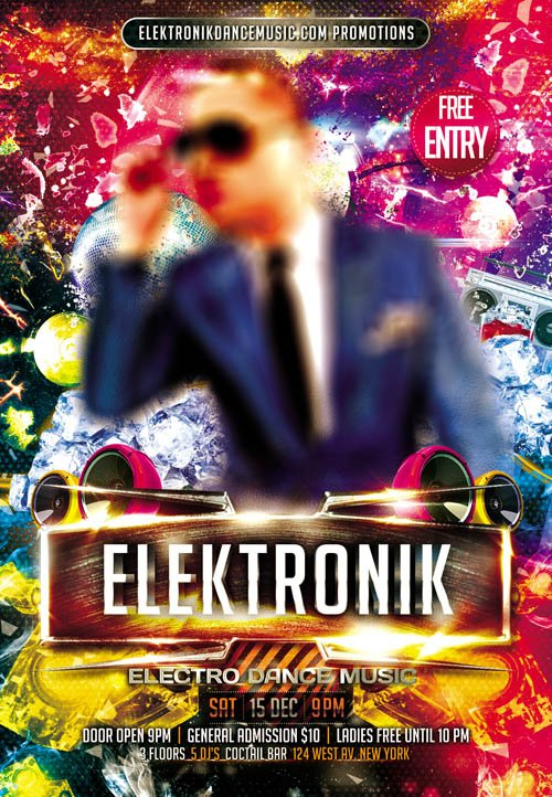 Flyer PSD Template - Electro Dance Music