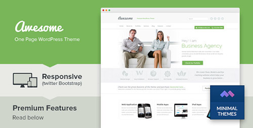 ThemeForest - Awesome v1.4 - One Page Business Portfolio WordPress Theme