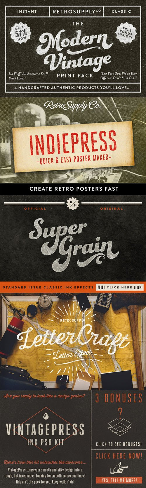 The Modern Vintage Print Pack - Creativemarket 94167