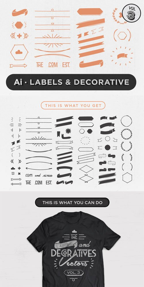 Labels & Decorative Vectors Vol.3 - Creativemarket 62735