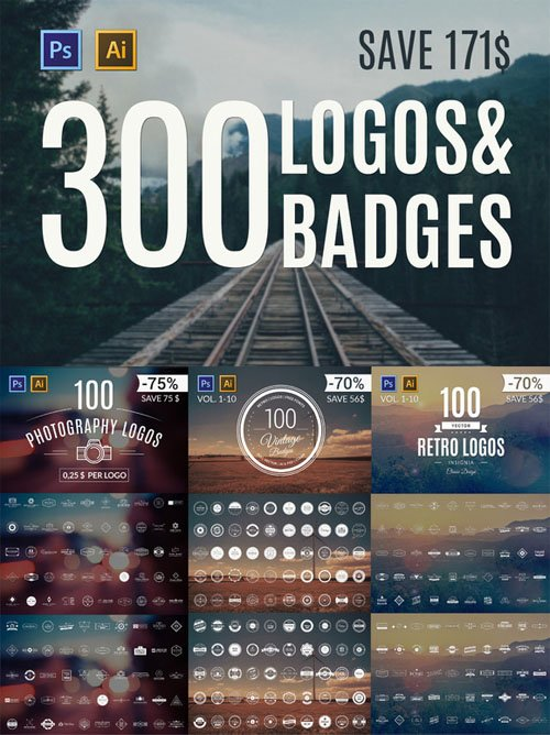 300 Logos & Badges - Creativemarket 65847