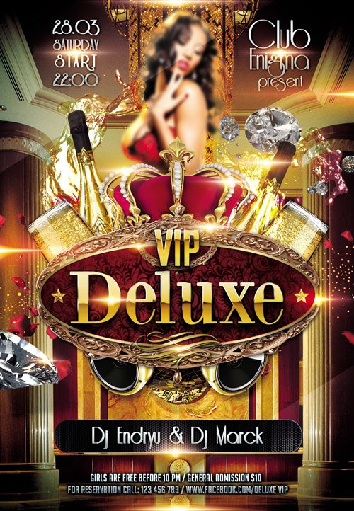 Club Flyer PSD Template - Deluxe VIP