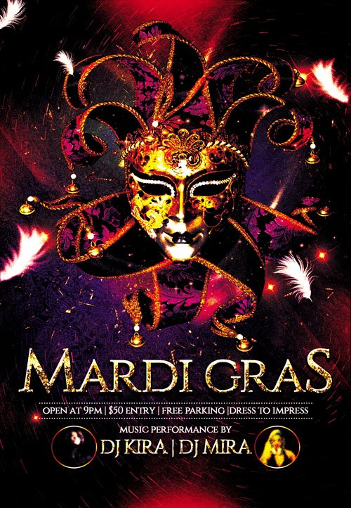 Club and Party Flyer PSD Template - Mardi Gras