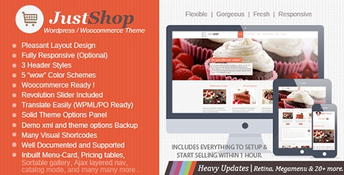 ThemeForest - Justshop v5.0 - Cake Bakery WordPress Theme