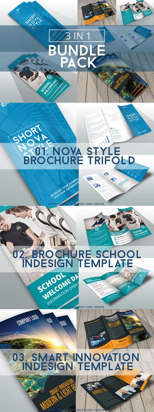 Bundle Trifolds InDesign Templates - CM 95169