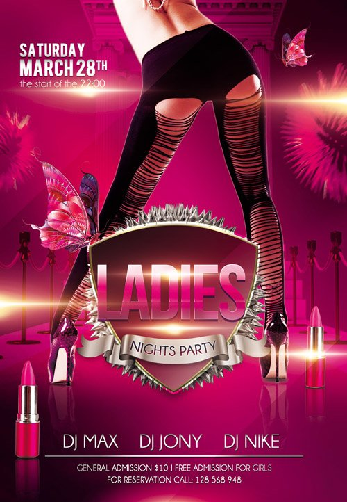 Flyer PSD Template - Ladies Nights Party