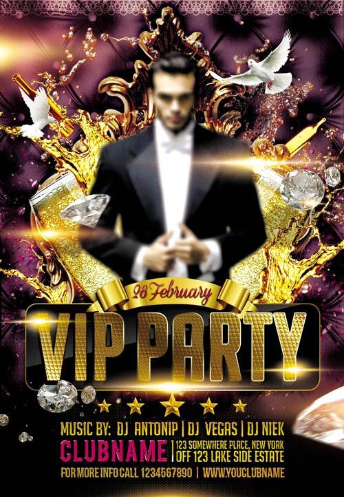 Flyer PSD Template - VIP Party 2 » NitroGFX - Download Unique Graphics For Creative Designers