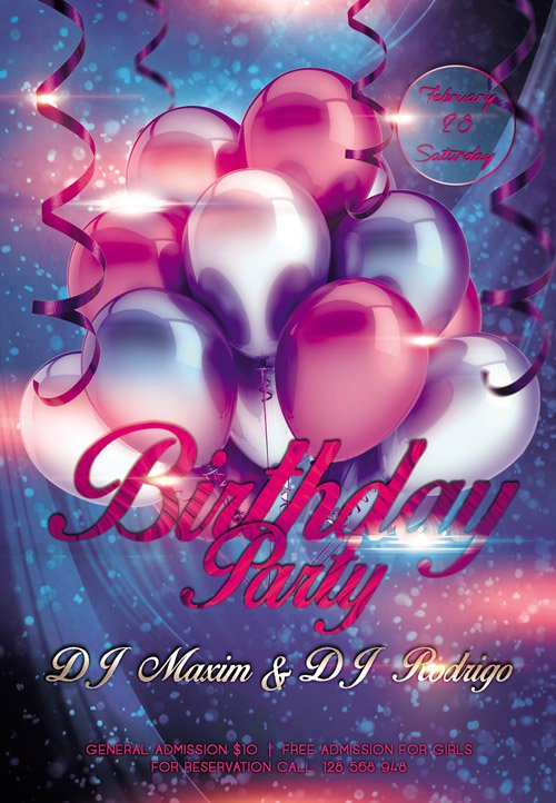 Club Flyer PSD Template - Birthday Party