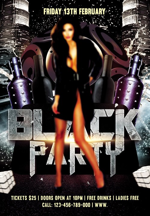 Flyer PSD Template - Black Party
