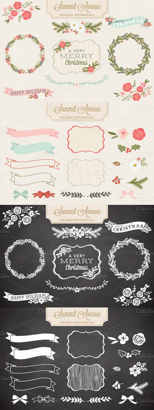 Holiday Botanical Vectors and PNG Designs - CM 17575