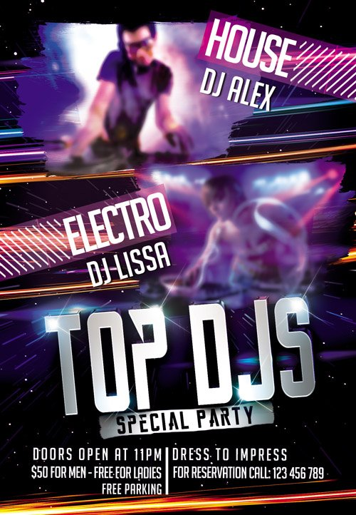 Flyer PSD Template - Top DJS Special Party