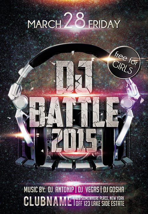 Flyer PSD Template - Dj Battle 2015