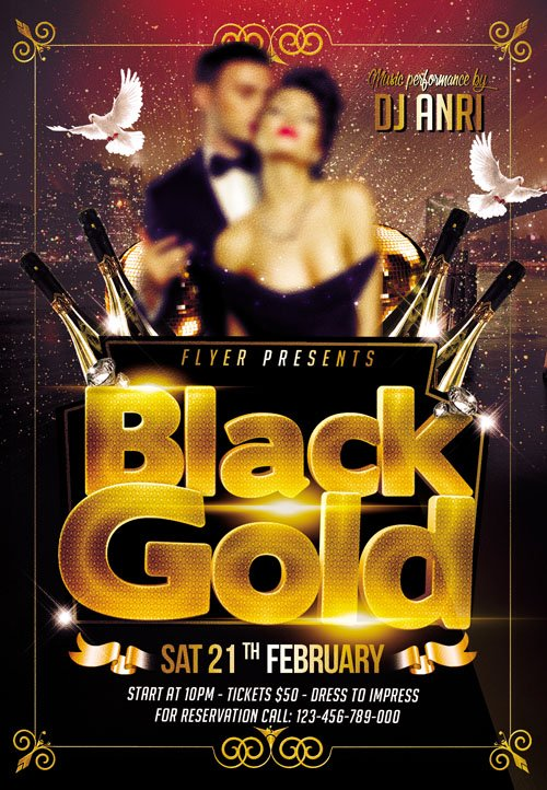 Flyer PSD Template - Black Gold Party