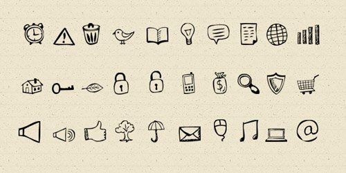 30 Hand-Drawn Icons And Photoshop Shapes - GraphicsFuel