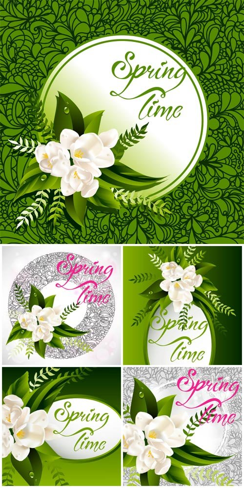 Spring vector backgrounds, flowers