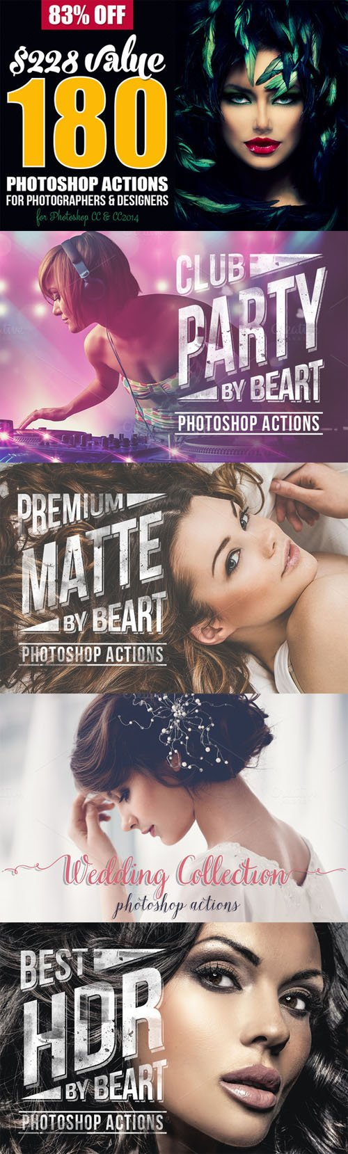 180 Premium Photoshop Actions Bundle - CM 186213
