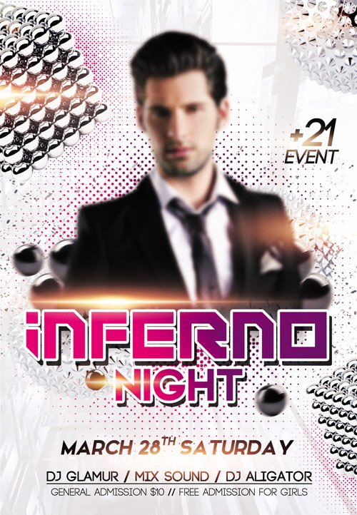 Flyer PSD Template - Inferno Night Club