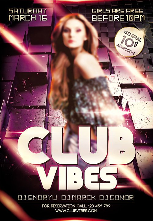 Flyer PSD Template - Club Vibes Сlub