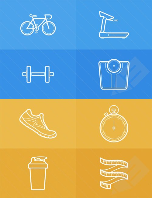Vector - Health and Fitness Outlined Icons
