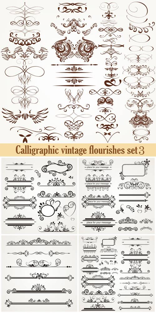 Calligraphic vintage elements,  vector ornaments