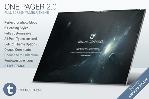 CreativeMarket - One Pager - Full Screen Tumblr Theme