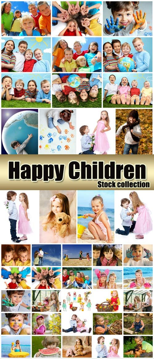 Happy kids, collection of children Stock Photo