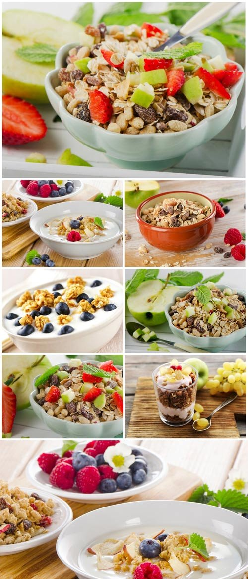 Muesli, delicious and healthy breakfast - stock photos