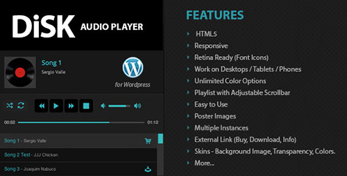 CodeCanyon - Disk Audio Player v1.6.6 For Wordpress