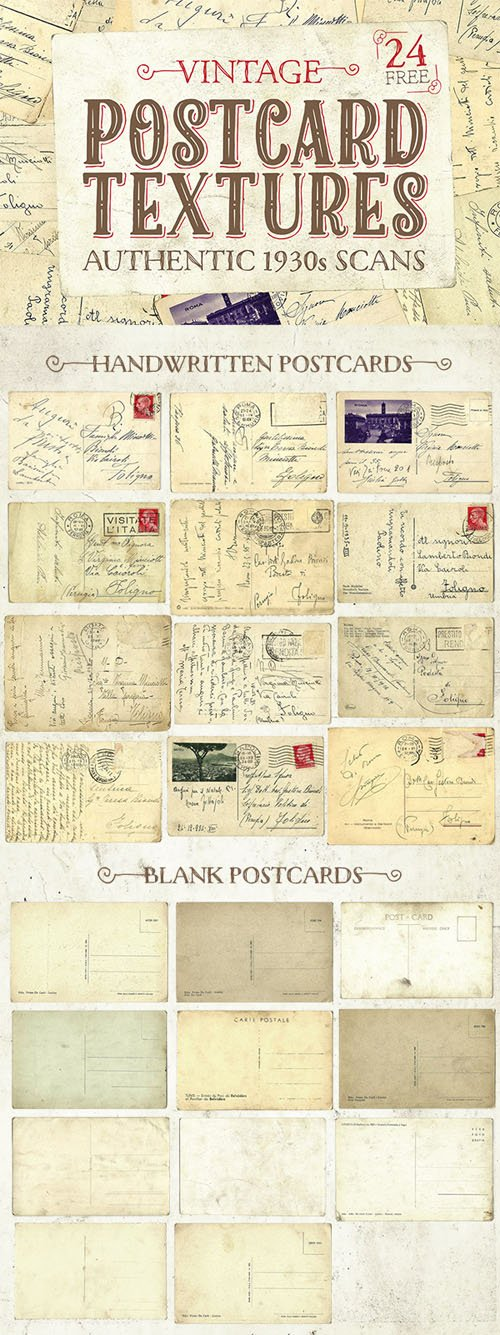 24 Authentic 1930s Vintage Postcard Textures