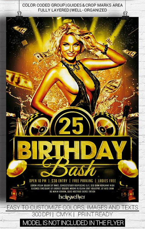 Flyer Template PSD - Birthday Bash