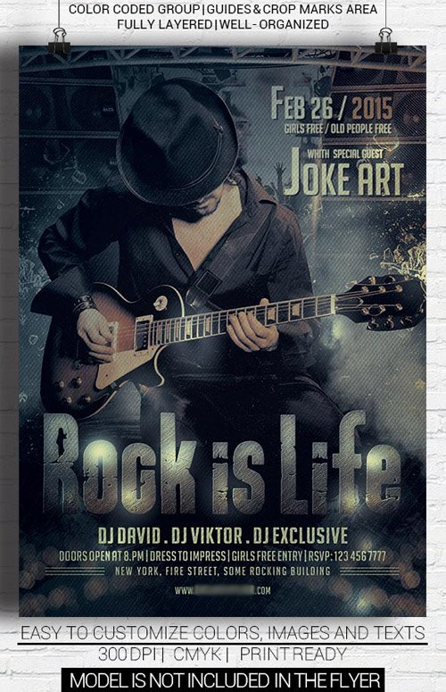 Flyer Template PSD - Rock Night Party