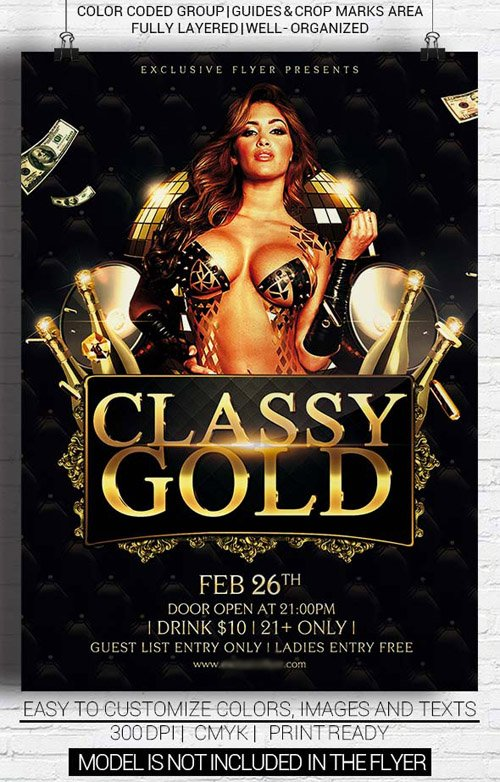 Flyer Template PSD - Classy Gold Party